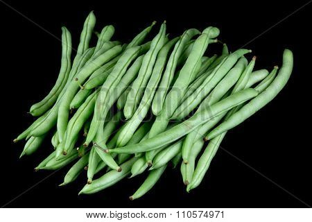 French Beans Isolated On Black Background