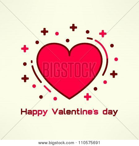Vector heart icon in modern flat geometrical design. Happy valentines day postcard design