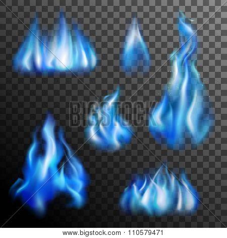 Blue Fire Transparent Set