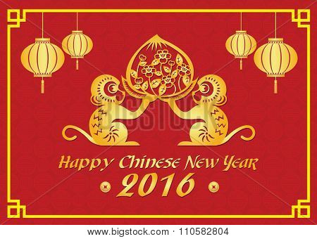 Happy Chinese new year 2016 card is  lanterns , 2 Gold monkey holding peach
