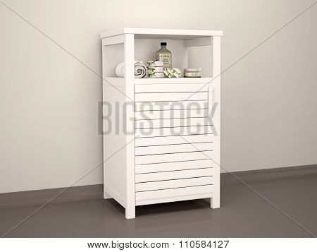 3D Illustration Of White Bedside Table En-suite Accessories