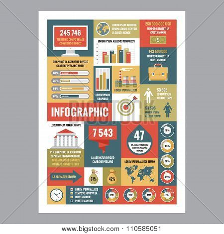 Business infographic - mosaic poster with icons in flat design style.