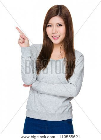 Asian Young Woman showing finger point up