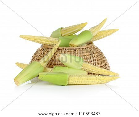 Baby Corn In Basket On White Background