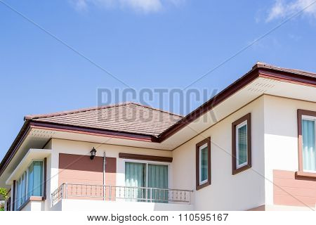 House And Sky With Clouds
