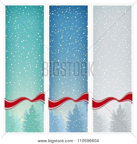 Set of  Vertical Banners with Snowfall