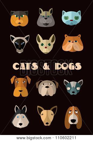 Cats and dogs icon set. Vector format.