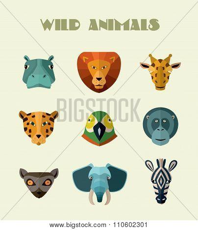 Wild animals icons.
