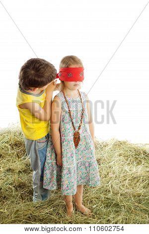 Children play hide and seek