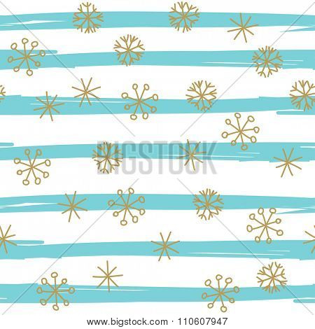 Stylish seamless snowflake pattern. Vector background with hand drawn gold snowflakes on blue striped background. Retro style design for paper, scrapbooking, textile design