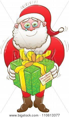 Weeping Santa receiving a Christmas present