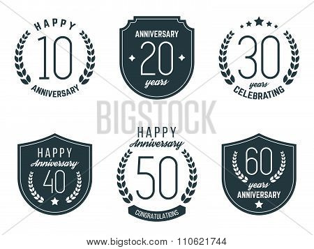 Ten, twenty, thirty, forty, fifty, sixty years jubilee design elements collection.