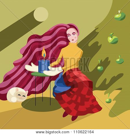 Woman Sitting Near The Christmass Tree With Candle And Cat
