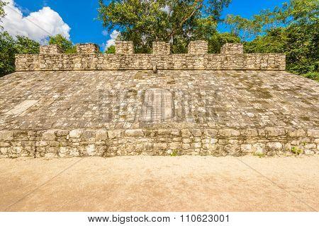 Fragment of Mayan Pyramid in Coba. Mexico.