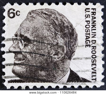 Famous man from amerika on a stamp
