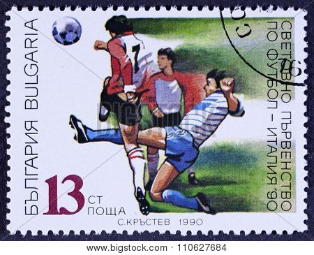 Footballers on a stamp