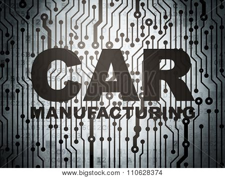 Manufacuring concept: circuit board with Car Manufacturing