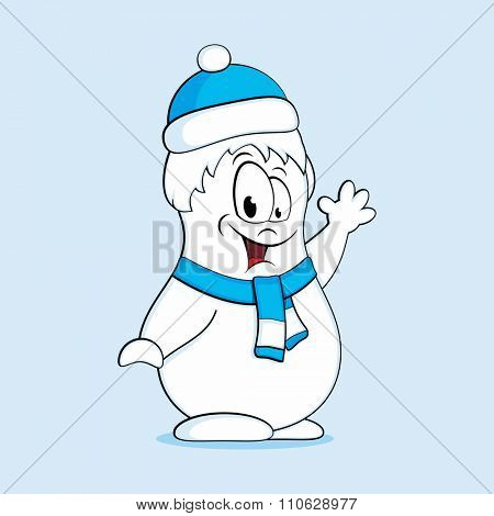Fun snowman in a blue hat and scarf. Vector illustration