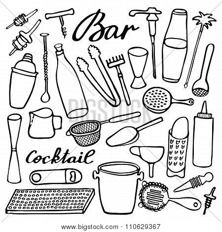 Bar equipment set. Hand-drawn cartoon collection. Doodle drawing.