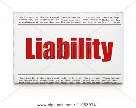 Insurance concept: newspaper headline Liability on White background, 3d render poster