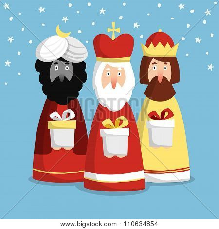 Cute Christmas Greeting Card, Invitation With Three Kings, Flat Design, Vector Illustration