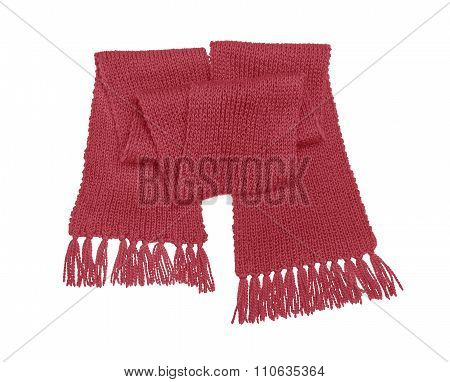 Red knitted scarf isolate.