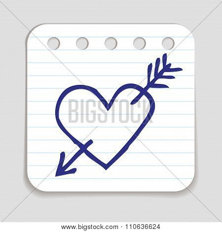 Doodle Heart and Arrow Icon