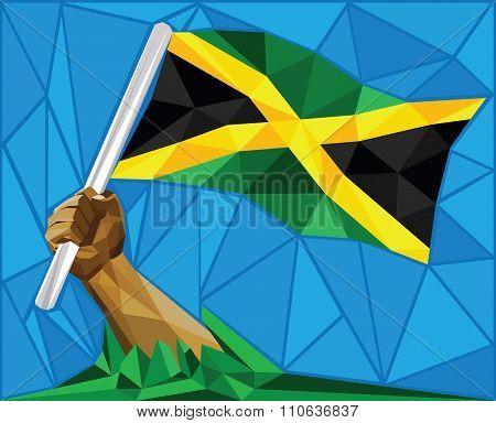 Jamaican Man Raising The National Flag