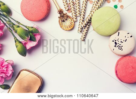 Flowers, Macarons, Paper Straws In Pastel Color And Golden Box
