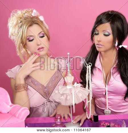 Doll Girls Pink Vanity Table Fashion Designer