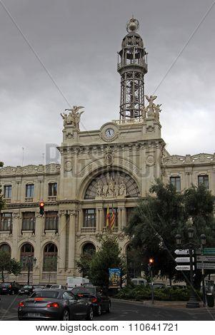 Valencia, Spain - August 26, 2012: Central Post Office (edificio De Correos Y Telegrafos) Facade