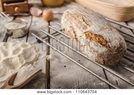 Homemade Rustic Bread, Baked In Oven