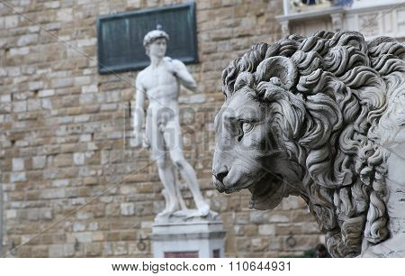 Statues In Piazza Della Signoria, Florence, Italy