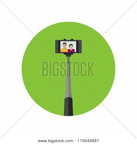 Selfie icon with monopod .