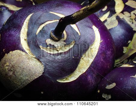Closeup of purple Kohlrabi Vegetable