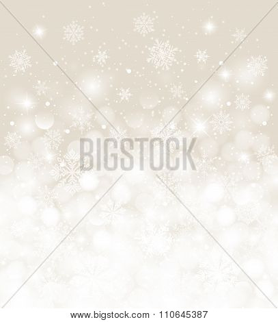 Christmas background white and ecru blurred with snowfall and copy space