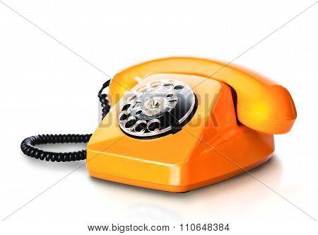 Vintage Orange Telephone On White
