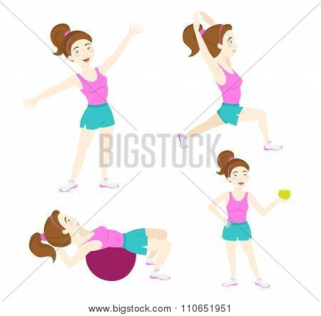 Set of Cute fitness woman exercising, lunge, warrior yoga pose,