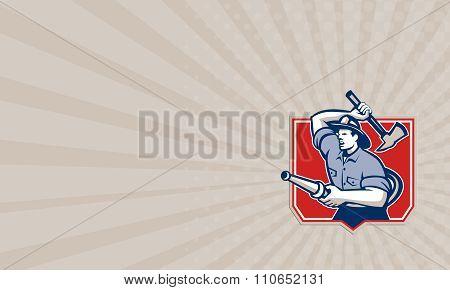 Business Card Fireman Firefighter Wielding Fire Axe