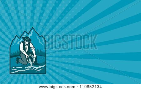 Business Card Gold Prospector Miner Pan Retro