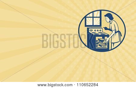 Business Card Housewife Baker Baking In Oven Stove Retro