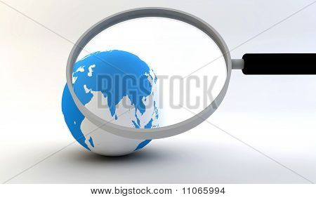 Earth Globe With Magnifying Glass