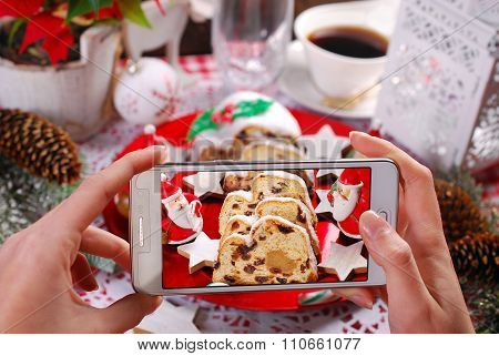 Taking A Photo Of Christmas Stollen Cake By Smartphone