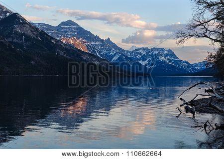 Upper Waterton Lake Scenic View And Glaciers