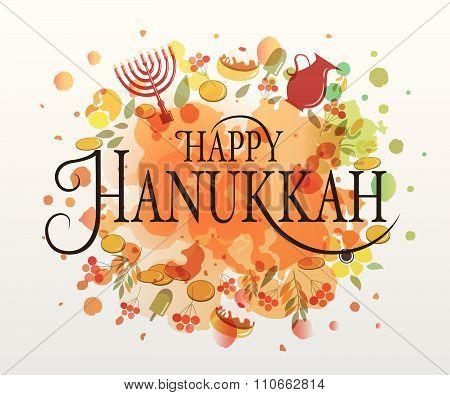 Flat Design Style Happy Hanukkah Logotype, Badge And Icon