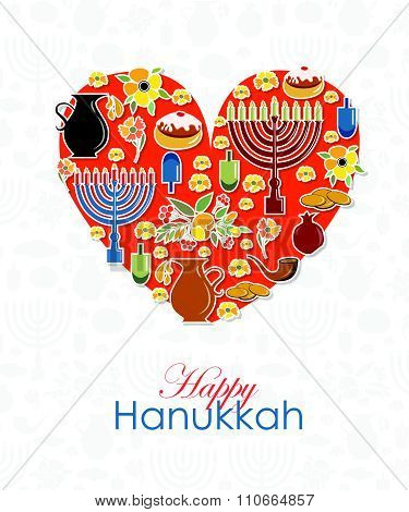 Heart With Hand Sketched Happy Hanukkah Logotype, Badge And Icon Typography