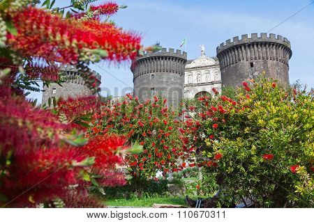 Medieval Castle Of Maschio Angioino Or Castel Nuovo In Naples, Italy