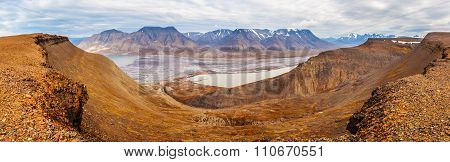 Horizontal Panorama View Near Longyearbyen, Spitsbergen (svalbard Island), Norway, Greenland Sea