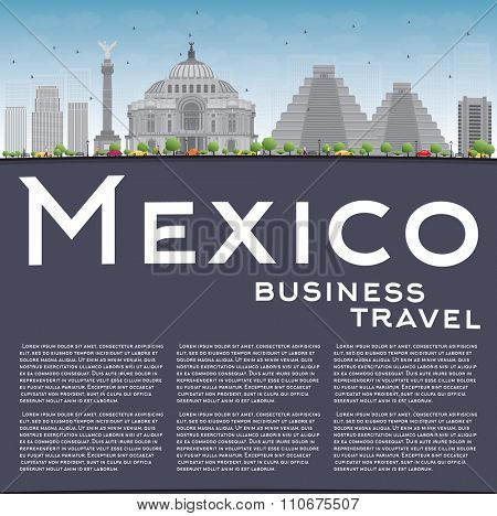 Mexico skyline with grey landmarks and blue sky. Vector illustration. Business travel and tourism concept with historic buildings and copy space. Image for presentation, banner, placard and web site.