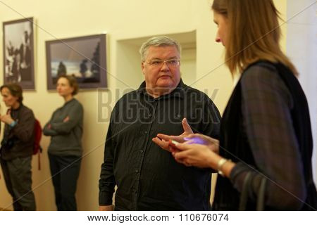 ST. PETERSBURG, RUSSIA - DECEMBER 3, 2015: Artistic Director of Petersburg-concert Sergey Stadler (center) after the press conference devoted to the preparations for St. Petersburg cultural forum